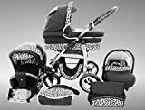 Chilly Kids Dino Kinderwagen Sommer-Set (Sonnenschirm, Autositz & Adapter, Regenschutz, Moskitonetz, Getränkehalter, Schwenkräder) 27 Schwarz & Snow Leopard