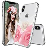 IPhone X Cases, Egotude® Floral Design Hard Back Transparent Cover Case For Apple IPhone X (Roses)