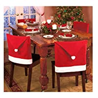 BulzEU Chair Covers Christmas Decorations Sale - Santa Claus Red Hat Chair Back Cover Christmas Dinner Table Party Decor Xmas party Decoration Set (1PCS)