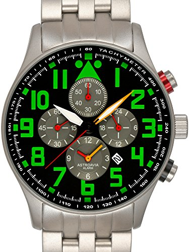 Astroavia Herren-Armbanduhr Alarm Chronograph Quarz Edelstahl V3SN