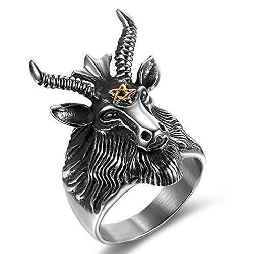XBYN Männer Weinlese gotische Edelstahl Satan Worship Baphomet Ram Widder Zodiac Schaf Ziege Kopf Horn Biker Ring