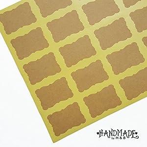 Aufkleber Etiketten Weiß Selbstklebend Braun Kraftpapier