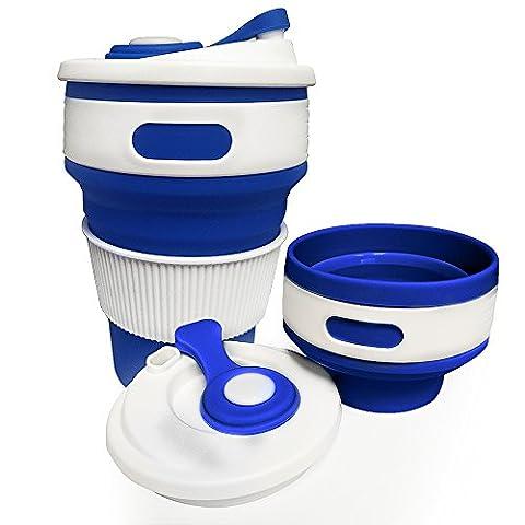 Jonhen Tasse de voyage 12 oz,Anti Fuite,Pliant Silicone Tasse à Café,Tasse Cadeau pour Amoureux du Café,Petit,bleu