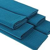 Geschirrtücher Set 6 Stück 100% Baumwolle Waffel-Pique Petrol 50x70 cm. Schöne Design Küchen-Handtücher. Waschbar, trocknergeeignet strapazierfähig.Trockentuch sehr gute Wasseraufnahme