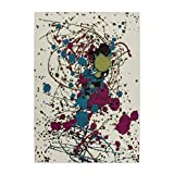 MyShop24h Teppich Wohnzimmer Flachflor Abstraktes Design Grün Violet Türkis Pflegeleicht, Größe in cm:200 x 290 cm