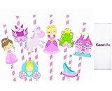 8x coco y Bo–Princesa Charlotte zapato de hadas Rana de fiesta pajitas–Unicornio con Hada Castillo Dragón transporte Niñas Rosa adornos de mesa de fiesta tarta de cumpleaños