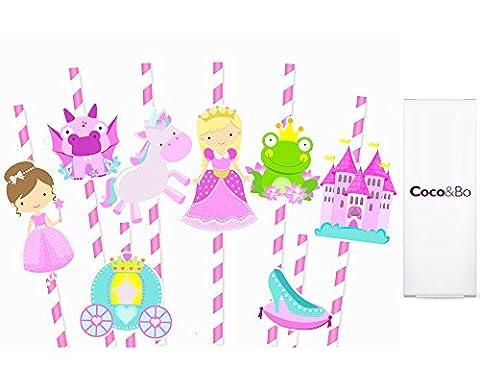 8X Coco & Bo–Princess Charlotte conte de fées fête pailles–Fée avec licorne Grenouille Pantoufle de Château Carrosse de dragon Fille Rose Table de fête d