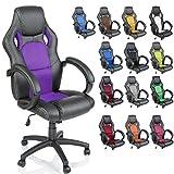 TRESKO Silla giratoria de oficina Sillón de escritorio Racing disponible en 14 colores, bicolor, silla Gaming ergonómica, cilindro neumático certificado por SGS, silla adecuada para niños mayores (Negro / Púrpura)