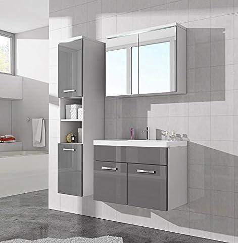 Badezimmer Badmöbel Paso LED 80 cm Waschbecken Hochglanz Grau Fronten - Unterschrank Hochschrank Waschbecken Spiegelschrank