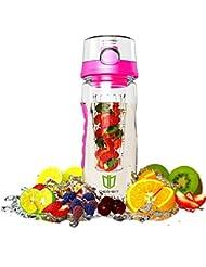 Wasserflasche, DEGBIT® [BPA-freiem Tritan] Kunststoff Trinkflasche Sport, Flasche ca. 1L, Sportflasche Auslaufsicher, Trinkflaschen BPA Frei Infuser mit Verschluss & Tragehenkel, Wasserflasche
