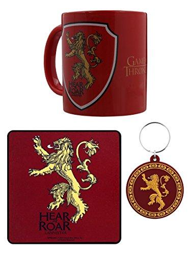 Offizielle Game of Thrones Lannister Becher, Schlüsselanhänger und Coaster Geschenk-Set – Boxed