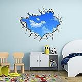 AUVS® 3D- Selbstklebende Abnehmbaren Durchbrechen Die Mauer Vinyl Wandsticker / Wandgemälde Kunst Aufkleber Dekorateur (Der Blaue Himmel Small (50cm x 70cm))