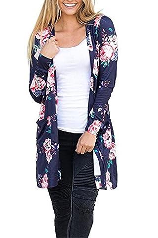 Outgobuy Women's Boho Floral Print Long Sleeve Wrap Kimono Cardigans Casual Coverup Coat Tops Outwear (XXL,