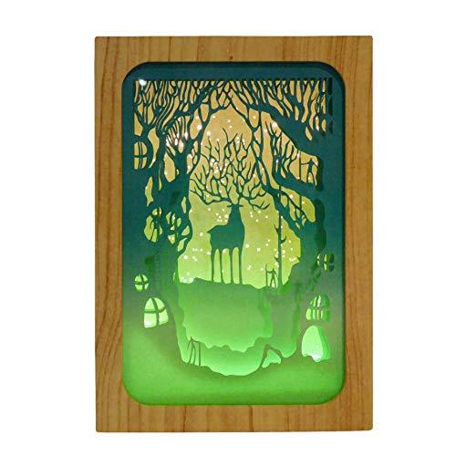 NIKKY HOME Papier schneiden Licht Dekorative Schachtel Nachtwald & Hirsch mit Warmen LEDs 3D Schattennachtlampe Weihnachtsdekoration für Schlafzimmer Wohnzimmer Kinderzimmer