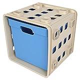Stapelbarer Modulwürfel mit Box Steckregal Wandregal Kinderzimmer Regalsystem, Farbe:blau