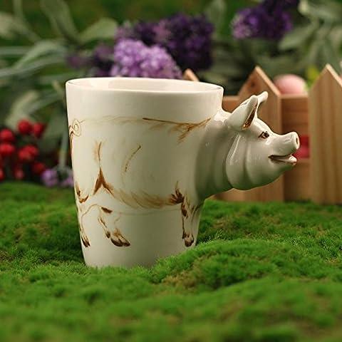 ZIMEI Maiale 3D fatto a mano in ceramica tazze, tazzine, ad alta temperatura, forno a microonde 420ml , 2 set - Starbucks Tazze E Tazzine