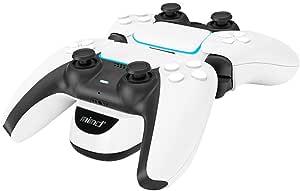 Chargeur Manette PS5, Dual Charging Dock Station pour PlayStation Contrôleur 5, Charge Rapide avec Indicateur LED et Protection Contre les Surcharges, Blanc