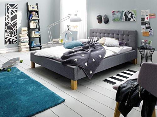 sette notti  Polsterbett Bett 140×200 Grau, Bett mit Liegefläche 140×200 cm, Polsterbett-Stoff in Grau, Yes Art Nr. 1257-10-3000