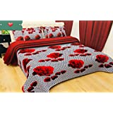 Tanishkam Decor 3D Printed Double Bed-Sheet with 2 Pillow Covers for Living Room and Bedroom (Kala Sikka)