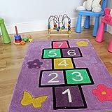 The Rug House Tappeto Bambini Viola Imparare i Numeri Gioco Della Campana 70 x 100cm