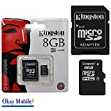 Scheda di memoria Kingston MicroSD originale 8 GB for Samsung Galaxy Ace 1 2 3 4, nuovo