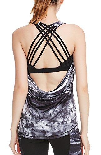 icyzone Fitness Shirt Damen Sport Tops mit BH - X Rücken Gym Yoga Oberteile 2 in 1 (L, Storm)