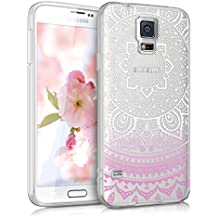 kwmobile Funda para Galaxy S5 / S5 Neo / S5 LTE+ / S5 Duos Samsung - Case de cristal para móvil en TPU silicona - Cover trasero de cristal Diseño sol indio rosa fucsia blanco transparente