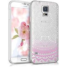 kwmobile Funda TPU silicona transparente para > Samsung Galaxy S5 / S5 Neo / S5 LTE+ / S5 Duos < en rosa fucsia blanco transparente Diseño sol indio
