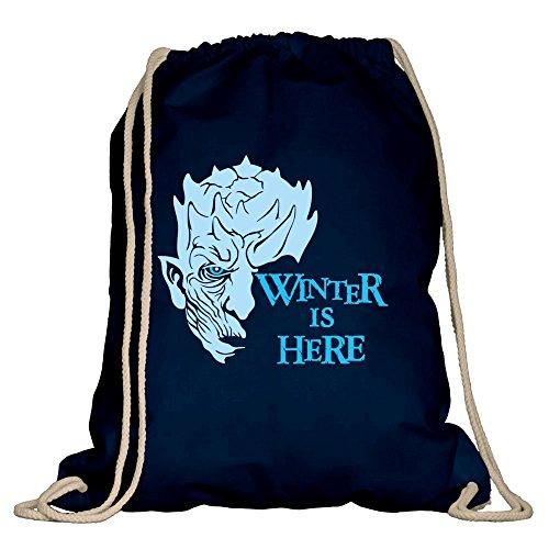 Game of Thrones - Winter is here - Turnbeutel - von SHIRT DEPARTMENT, dunkelblau-himmelblau (Snow White Outfit Ideen)