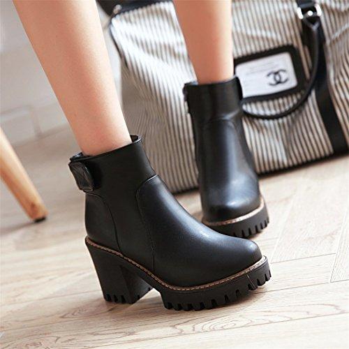 ZQ@QXIn autunno e in inverno, testa tonda impermeabile dello spessore di Taiwan con elegante e versatile, stivali nudo di un gran numero di scarpe da donna Black