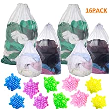 6 Pack Mesh Laundry Bags and 10 Pack Laundry Ball,Washing Machine Wash Bags, Reusable and Durable drawstring laundry bag for Delicates Blouse, Hosiery, Underwear, Bra, Lingerie Baby Clothes