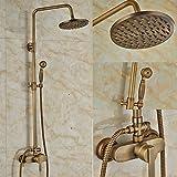 Rozine Laiton antique 20,3cm précipitations de bain douche robinet support mural robinet mitigeur avec douchette à main, R2120