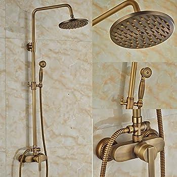 3/trous douchette /à main deux poign/ées LightInTheBox/® Support mural de douche fauct Vintage R/étro en laiton antique baignoire robinet de douche cascade avec 20,3/cm douche de t/ête