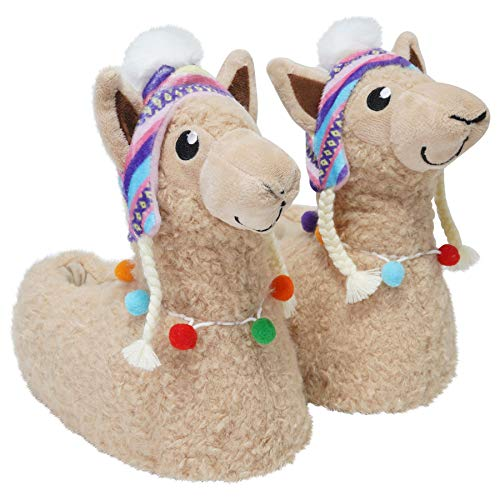 Keanu Ladies & Girls Matching Mum & Daughter Peruvian Hat 3D Llama/Sloth/Floppy Dog Cute Cosy Slippers Novelty Gift