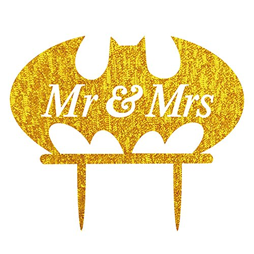 Lanlan Herr und Frau Buchstabe Hochzeit Tortenaufsatz Acryl Shining Bride Groom Engagement Jahrestag Kuchen Dekoration Fledermaus Form, (Dr Kuchen Dekorationen Seuss)