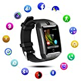QIMAOO Q18 Smart Watch Bluetooth Sweatproof Wrist Watch Phone with Camera TF/SIM Card Slot for Android and IPhone Smartphones for Girls Boys Men Women (Black-Black)
