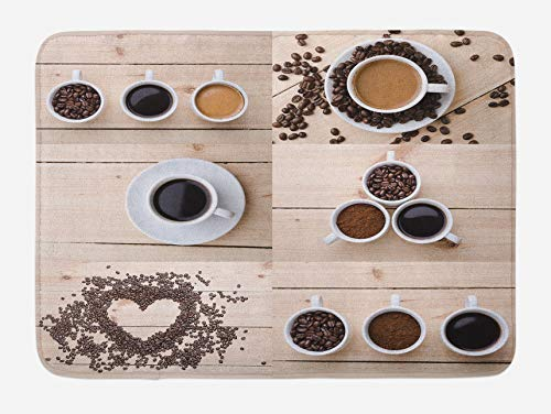 Coffee Bath Mat, Collage of Different Coffee Details On Wooden Table Mugs Beans Organic Concept, Plush Bathroom Decor Mat, 16x 24 Inches, Brown Black Tan ()