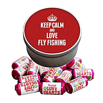 RED Keep Calm and Love Fly Fishing Love Heart Sweet Tin 1746 by Duke Gifts