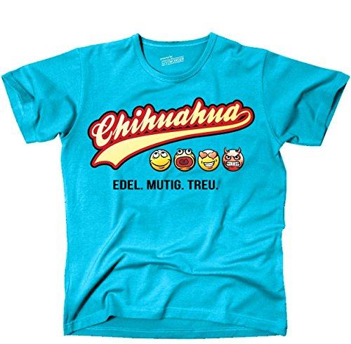 Siviwonder Unisex T-Shirt CHIHUAHUA - OLD SCHOOL SCHRIFT Hunde Türkis