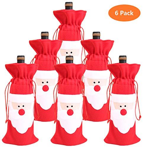 Bolsa Navidad botella vino Papá Noel cordón decoración