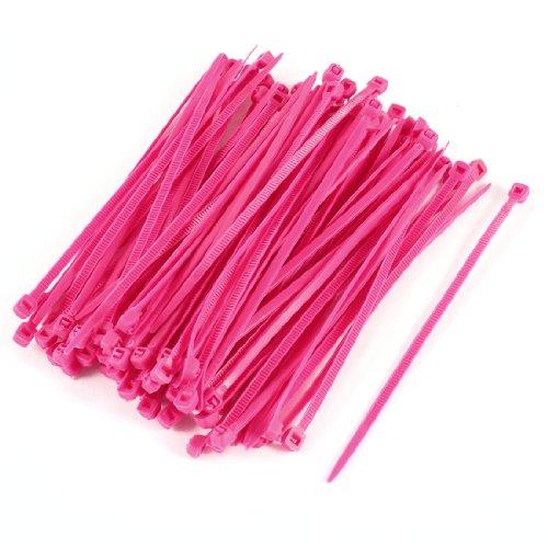 Fuchsia plastique auto-verrouillage marqueurs dents étiquette Lot de 100 serre-câbles