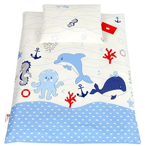 BABYLUX 2 tlg. Set Bezug für Kinderwagen Stubenwagen oder Wiege Garnitur Bettwäsche Kissen Decke 60 x 78 cm (74. Fische Blau) (Fisch Baby-bettwäsche)