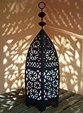 Orientalische Laterne aus Metall Schwarz Sliman 60cm groß | Marokkanische Gartenlaterne für draußen, Innen als Tischlaterne | Marokkanisches Gartenwindlicht Windlicht hängend oder zum hinstellen