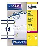 Avery L7163-100 Etichette per indirizzi per buste, 14 Pezzi per Foglio, 100 Fogli, 99.1 x 38.1, Bianco