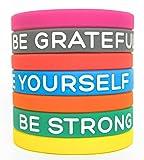 Braccialetti motivazionali in silicone da Solza | Set di 7 braccialetti in silicone, 7 Diversi Colori e Messaggi che illumineranno la tua giornata | Taglia Unisex, Adulti, 20 cm x 1,2 cm | Non Tossici