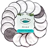 Reusable Cotton Pads | 16 Bamboo Make Up Remover Cleansing Rounds | FREE Skin Care Ebook | EXTRA Organic Cotton Wash Bag | Eco Friendly Facial Cloths | Perfect For Makeup and Nail Polish Removal