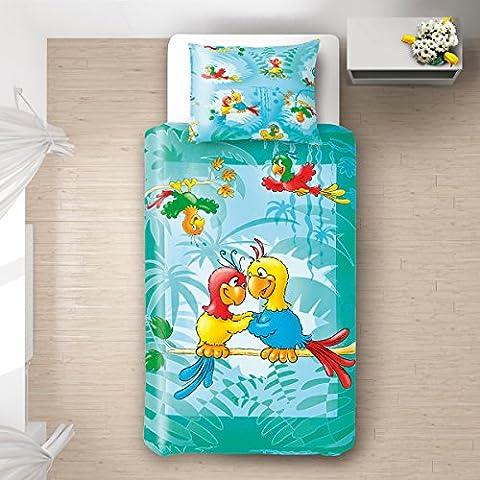 Les perroquets - SoulBedroom Linge de lit pour bébé (Housse de couette 100x140 cm et Taie d'oreiller - 100%