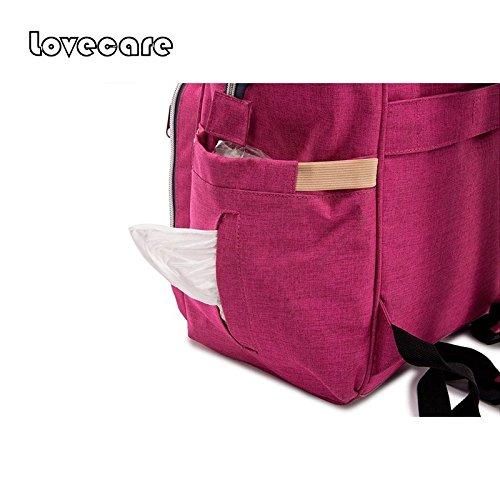 Lovecare Multifunktionale Wickeltasche Babytasche Windeltasche Rucksack Rose