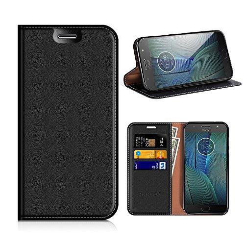 MOBESV Motorola Moto G5S Plus Hülle Leder, Motorola Moto G5S Plus Tasche Lederhülle/Wallet Case/Ledertasche Handyhülle/Schutzhülle mit Kartenfach für Motorola Moto G5S Plus - Schwarz