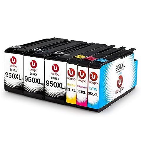 Uoopo 950XL 951XL Remplacement pour HP 950XL 951XL Cartouches d'Encre Compatibles pour HP Officejet Pro 8600 8100 8610 8620 276dw 8615 8630 8640 8660 8625 251dw 271dw Imprimante,Pack de 6. ( 3 Noirs 1 Cyan 1 Magenta 1 Jaune)